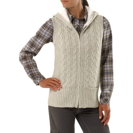 Entertainment Heading out for a quick walk in the great outdoors? Warm your core with the cozy Aventura Lockhart vest. Warm, breathable acrylic/wool knit supplies excellent insulation, even when wet. Alpaca-lined hood offers additional warmth and coverage for sudden downpours. Aventura Lockhart vest has a full-length zipper and a rib-knit hem. - $68.93