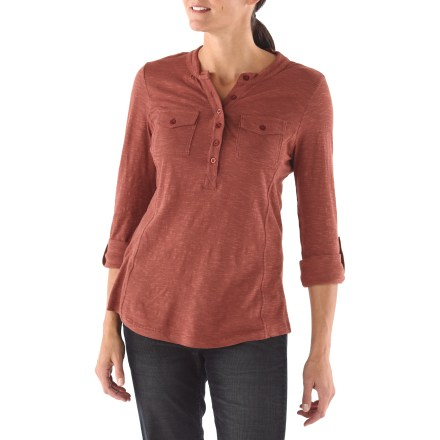 Entertainment The Aventura Ellery Henley shirt moves you into fall and beyond with soft, stylish comfort. Made of easy-care slub jersey fabric for a distinctive look with an extra-soft feel. Half-button front opens to a subtle yet flattering v-neck. Sleeves roll up and secure with buttons to 3/4 length. Aventura Ellery Henley has 2 button-close chest pockets. - $25.83