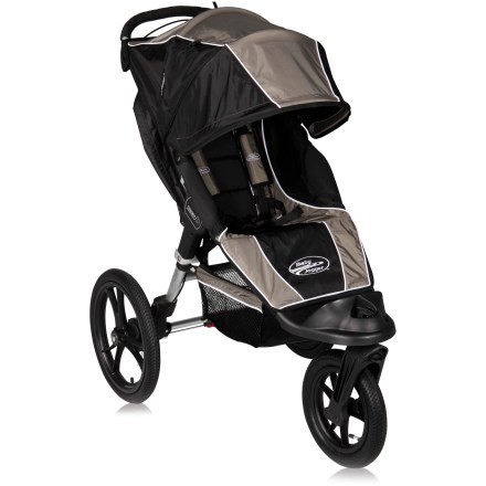 Fitness The Baby Jogger Summit XC single stroller provides exceptional performance and maneuverability on any terrain. Equipped with 1-of-a-kind, all-wheel suspension, this stroller will go anywhere! Baby Jogger patented Quick-Fold Technology ensures easy transport and storage; 1-step folding process allows stroller to fold with the simple lift of a strap. Patented, all-wheel independent suspension offers the smoothest ride ever. Hand-operated rear drum brakes increase control on hilly terrain; includes a rear parking break. Swivel front wheel lets you enjoy precise maneuverability; wheel locks into place for exercise purposes. 16 in. rear and 12 in. front quick-release pneumatic tires perform well on all terrain. Plush padded seat (back is vented) reclines to a near flat position; retractable weather cover protects child no matter what position the seat is in. Multi-position sun canopy with clear view window and side ventilation panels securely closes with magnets; won't pinch fingers. Adjustable, 5-point padded safety harness with buckle cover keeps child comfortably secure. Extended, padded handlebar features a wipe-clean grip. Includes a rear storage compartment and a large basket under the seat. - $279.93
