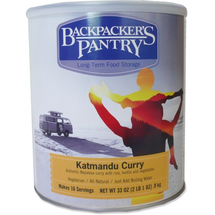 Camp and Hike The taste of Backpacker's Pantry Katmandu Curry will conjure up the image of being camped in the Himalayas. Tasty vegetarian meal contains lentils, brown rice, potatoes, peas, carrots and curry seasoning. Just mix contents with boiling water, let stand and serve. Can contains 16 servings; scoop out the amount you need and take it along on your trip. Nutrition facts displayed here and on packaging may differ; information on packaging reflects actual contents. *Discount will be applied when you check out; offer not valid for sale-price items ending in $._3 or $._9. - $29.00