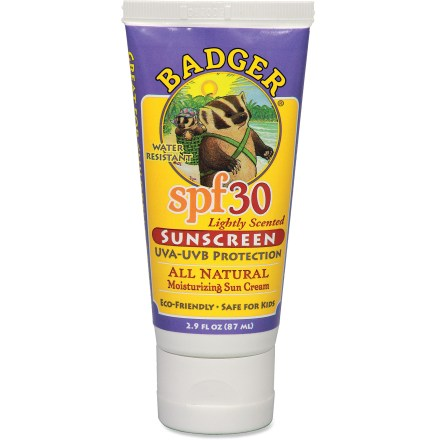 Camp and Hike Protect your skin from harmful UVA and UVB rays with Badger Face and Body SPF 30 sunscreen. Natural, broad-spectrum formula provides complete protection from the sun without the use of harmful chemicals found in other sunscreens. Water-resistant cream contains natural moisturizers and is safe for children of all ages. Micronized zinc oxide (20.5%) forms a physical barrier against UVA/UVB rays, without leaving a white residue on skin. - $9.93