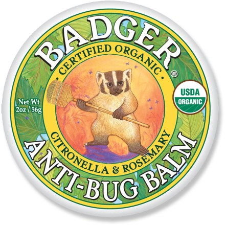 Camp and Hike Strike fear into the hearts of biting insects with certified-organic, all-natural Badger Anti-Bug balm. 100% USDA Certified Organic and all-natural Anti-Bug Balm is strong enough to send pesky bugs packing, but contains no DEET or other chemical. Features essential oils of Citronella, Cedar and Lemongrass have been used to repel insects. Reapply frequently for the best protection; application should repel mosquitoes and flies for up to 3.5 hrs. - $6.93