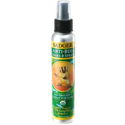 Camp and Hike Certified-organic Badger Balm Anti-Bug Shake & Spray insect repellent keeps bugs away with the pleasant smell of rosemary, citronella and wintergreen essential oils. - $12.00