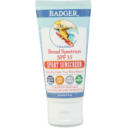 Snowboard Badger Sport sunscreen is the stuff you want when you're skiing, snowboarding, surfing, swimming, running, biking and hiking. The SPF 35 formula protects you wherever your adventures take you. - $14.95