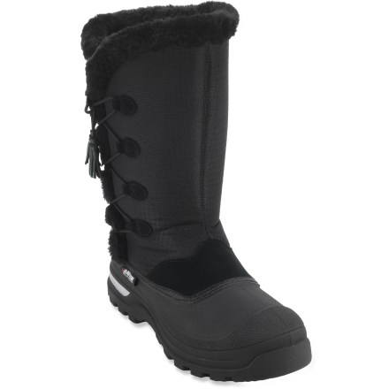 The girls' Baffin Candy boots, offered here in sizes 3-8, hit the winter sweet spot, letting your little one tromp confidently through the flurries. Waterproof microfiber uppers with faux fur trim keep out the snow and slush. Removable 5-layer inner liners provide exceptional warmth in conditions down to -40degF. Thermoplastic rubber outsoles with grippy tread let her stomp through every puddle. Tassels and side eyelets add a fun pop of style. Closeout. - $18.73