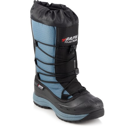 The Baffin Snogoose winter boots are lightweight and comfortable-perfect for exploring the snow. Nylon uppers breathe well and resist water and abrasion. Removable liners ensure warmth and breathability with a combination of quick-drying layers; aluminum membrane reflects body heat back into boots. Polyester linings wick moisture away from feet and dry quickly for lasting comfort. Locking snow collars help keep out the cold stuff; nylon lacing with cordlocks deliver a superior fit. Integrated dual-density thermoplastic rubber midsoles and under-arch supports create a boot that is structurally durable, flexible and lightweight. Thermoplastic rubber bottoms are waterproof, lightweight, flexible and durable. Aggressive outsole pattern resists clogging while providing exceptional traction and long wear. Closeout. - $54.73