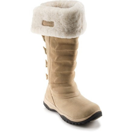 Style and warmth combine to create the Baffin Kona winter boots. Don't let the cold freeze out your fashion sense. Nubuck suede leather uppers feature faux-fur trim for great looks and solid cold-weather performance. Synthetic insulation traps and holds valuable warmth; synthetic linings wick moisture away from feet and dry quickly for lasting comfort. Contoured footbeds over comfort platforms support and cushion your feet. Proprietary EVA midsoles absorb impact to reduce foot fatigue; plus, they provide insulation from the frozen terrain underfoot. Lugged rubber outsoles deliver solid traction and support on snow and wet surfaces. Closeout. - $64.73