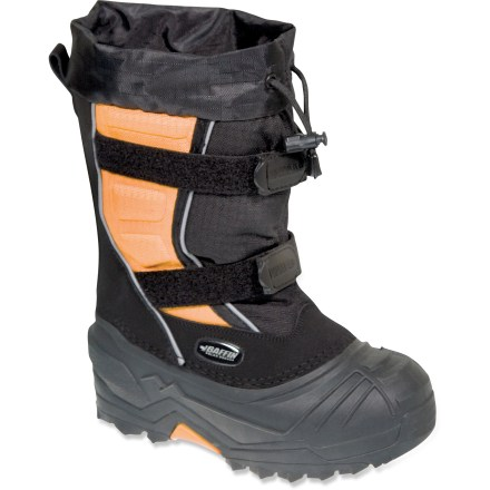 These expedition-worthy Baffin Young Eiger winter boots are built to handle tough winter conditions, featuring a comfort rating down to -76degF to keep toes cozy. Cold rated to -76degF in active use, the Young Eiger boots will take kids through the toughest winter activities while managing moisture and keeping them warm. Rugged and flexible, the synthetic leather and ripstop nylon uppers resist water and abrasion. Easy single-pull cuff cords with cordlock ease entry and exit and cinch tight to keep snow from getting in. 2 rip-and-stick adjustment straps ensure a firm fit across the insteps and help keep boots on while bounding through the snow. Removable, multicomponent liner system ensures moisture management, soft comfort and cozy warmth; aluminum membranes reflects body heat back into boots. Rubber midsoles insulate, cushion, absorb shock and reduce fatigue. Thermoplastic rubber outsoles on the Baffin Young Eiger boots remain flexible in cold temperatures; aggressive sole pattern resists clogging and offers exceptional traction. - $58.93