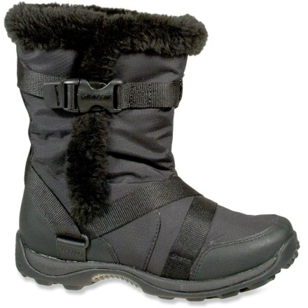 Camp and Hike Stay comfortably chic in the cold with these Baffin Montreal insulated winter boots. Lightweight and flexible nylon uppers are water-resistant; synthetic leather offers resilient protection while the polyester faux fur trim adds a touch of style. Adjustable straps wrap around the boots and secure with glove-friendly side release buckles for a secure fit. Polyester faux fur and polyester insulation offer soft, moisture-wicking performance and cozy warmth; boots are comfort rated down to -4deg:F during active use. EVA midsoles absorb shock, cushion feet and provide gentle support. Lugged rubber outsoles on the Baffin Montreal winter boots are designed to enhance traction on snowy surfaces. - $90.93