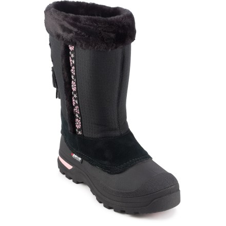 The Baffin Abby winter boots are rated down to -40degF so she stays warm all winter long. Abby boots have distinctive styling made just for girls. Rugged and flexible ripstop nylon/synthetic leather uppers resist water and abrasion; faux fur-lining and graphic piping add a nice look. Easy single-pull cord with cordlock eases entry and exit and keeps the snow out. Multicomponent liner system ensures moisture management, soft comfort and cozy warmth down to -40degF; liners are removable for decreased drying time. Rubber midsoles insulate, cushion, absorb shock and reduce fatigue. External molded arches on outsoles provide support for all-day play. Abby boots feature thermoplastic rubber outsoles that remain flexible in cold temperatures; deep traction waterproof outsoles ensure a superior grip. Closeout. - $16.73