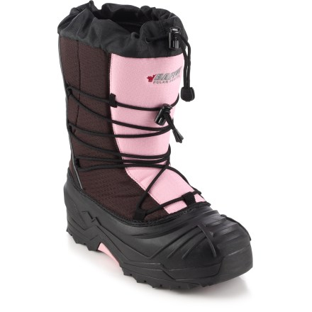 The Baffin Snogoose junior girls' winter boots are lightweight and comfortable-perfect for exploring the snow. Nylon uppers breathe well and resist water and abrasion. Removable insulating liners ensure warmth and breathability with a combination of quick-drying layers; aluminum membrane reflects body heat back into boots. Polyester linings wick moisture away from feet and dry quickly for lasting comfort. Locking snow collars help keep out the cold stuff; nylon laces with cordlocks deliver a superior fit. Integrated dual-density thermoplastic rubber midsoles and under-arch supports create a boot that is structurally durable, flexible and lightweight. Thermoplastic rubber bottoms are waterproof, lightweight, flexible and durable. Aggressive outsole pattern resists clogging while providing exceptional traction and long wear. Closeout. - $19.83