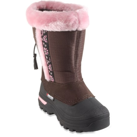 The Baffin Abby winter boots are a great choice for young girls that enjoy snow-filled landscapes. They'll stay warm thanks to the -40&$176; rating. Rugged and flexible ripstop nylon/synthetic leather uppers resist water and abrasion; faux-fur lining and graphic piping add a nice look. Easy single-pull cord with cordlock eases entry and exit and keeps the snow out. Multicomponent liner system ensures moisture management, soft comfort and cozy warmth down to -40degF; liners are removable for decreased drying time. Rubber midsoles insulate, cushion, absorb shock and reduce fatigue. External molded arches on outsoles provide support for all-day play. Abby boots feature thermoplastic rubber outsoles that remain flexible in cold temperatures; deep traction waterproof outsoles ensure a superior grip. Closeout. - $26.83