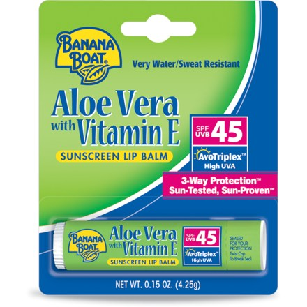 Camp and Hike Banana Boat Aloe Vera with vitamin E Sunscreen lip balm moisturizes and soothes dry, chapped lips while protecting them from the sun's harmful UVA and UVB rays. - $2.25