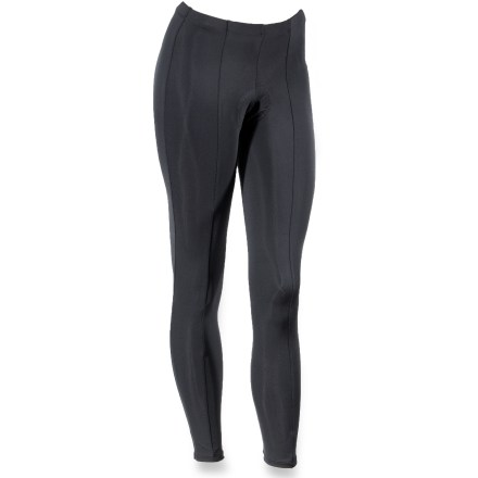 Fitness These women's BDI bike tights are engineered to keep you warm and dry during high-energy, cold-weather workouts. Nylon/spandex blend offers rapid moisture-wicking, quick drying and great stretch-and-recovery for a comfortable ride. 8-panel construction ensures a contoured fit that doesn't restrict movement. Low-profile, 1-piece chamois adds comfort to your ride; padding is light enough to wear these tights over shorts during mid-season rides when the weather is subject to change. Elastic waist provides a comfortable fit. Special buy. - $7.73