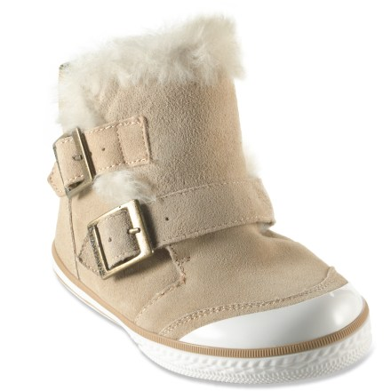 The Venice boots from BEARPAW are simply adorable. Kids will love the fun style and amazing warmth. Suede leather outers feature a rubber toe and 2 side buckles; suede leather linings keep feet warm. Sheepskin insoles enhance softness, regulate temperature and help keep feet dry. Rubber outsoles ensure excellent traction on a variety of terrain. Closeout. - $21.83