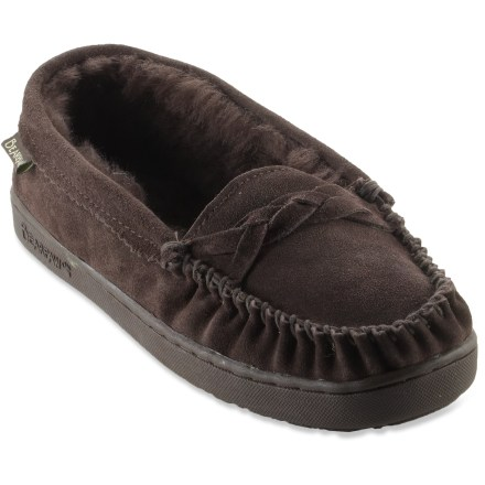 Entertainment The BEARPAW Brigetta slippers offer superior comfort while lounging around the house. Suede leather uppers are lined with warm and cozy sheepskin. Rubber outsoles are perfect for indoor and outdoor use. Closeout. - $35.93