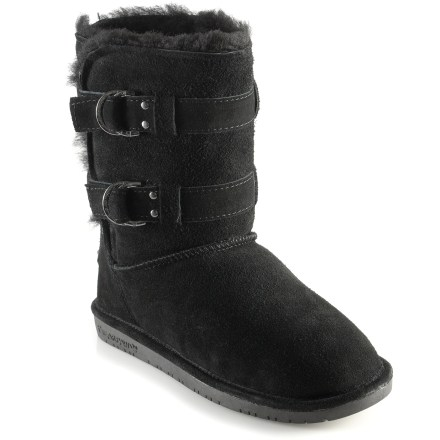 The BEARPAW Quinn boots are a great choice for casual days around town or on campus. High-quality double-face sheepskin uppers are soft, warm and breathable; they manage moisture with ease and conform to feet for a personalized fit. Designed to wear without socks, this tall style is cozy and comforting against bare legs; boots can also be worn rolled down, thanks to 2 toggle buttons. Sheepskin insoles enhance softness, regulate temperature and help keep feet dry. Thermoplastic rubber outsoles ensure excellent traction on a variety of terrain. Boots are 7.5 in. high. Closeout. - $29.93