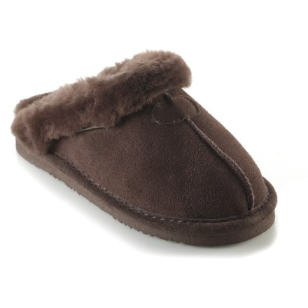 Entertainment The BEARPAW Loki slippers for kids keep little feet warm. High-quality, double-face sheepskin uppers are soft, warm and breathable; they manage moisture with ease and conform to feet for a personalized fit. Sheepskin insoles enhance softness, regulate temperature and help keep feet dry. EVA outsoles ensure excellent traction on a variety of terrain. Closeout. - $30.93