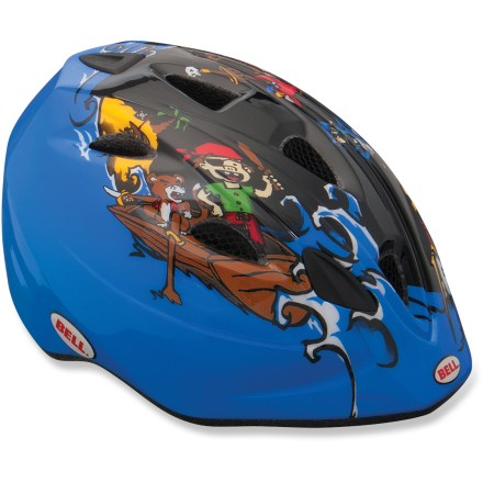 Fitness The Bell boys' Tater bike helmet is not only easy to get on and off a child, it offers rear blinking lights, protective bug netting and lots of coverage for enhanced protection. - $13.93