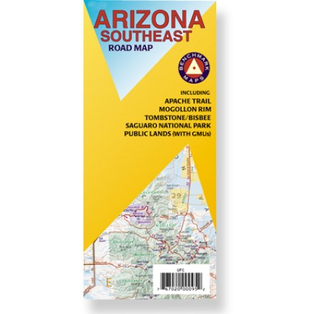 Plan your next adventure in southeastern Arizona with this handy road map! Offers information on recreation, campgrounds, parks and wilderness areas. Map features public lands detail and an index of cities and towns. Map unfolds to 36 x 27 in. Printed on waterproof, tear-proof plastic material. Scale 1:400,000. Benchmark Maps; copyright 2007. - $2.93