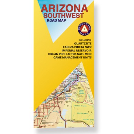 Plan your next adventure in southwestern Arizona with this handy road map! Offers information on recreation, campgrounds, parks and wilderness areas. Map features public lands detail and an index of cities and towns. Map unfolds to 32 x 27 in. Printed on waterproof, tear-proof plastic material. Scale 1:400,000. Benchmark Maps; copyright 2007. - $2.93