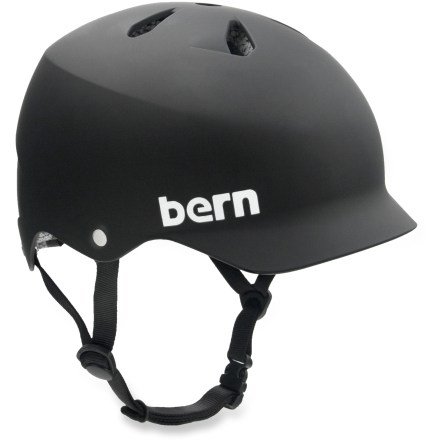 MTB Bern Watts helmet meets ASTM F 2040 and EN 1077B standards for snow and ski, and CPSC and EN 1078 for bike and skate. Bern bike helmets are designed for all season usage and offer a winter knit liner and goggle clip that can be snapped in for cold weather or for snow sports, not included. Molded ABS shell with expanded polystyrene (EPS) liner enhances impact protection. Sink Fit helmet design offers a low-profile fit; it doesn't look like a spaceship landed on your head! You've asked for it and Bern delivers it. The Watts is a vented helmet with a visor lid that protects your head while keeping your style intact! - $44.93