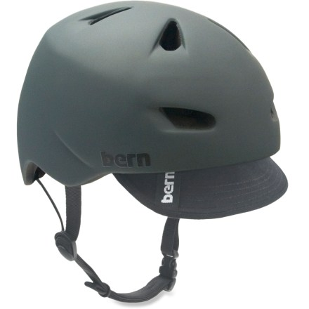MTB The Bern Brentwood is a bike helmet that is lightweight, low profile and versatile-and oh, did we mention cool-looking?. Lightweight PVC shell with seamless ZipMold(TM) liquid foam technology provides a high strength-to-weight ratio. Sink Fit helmet design offers a low-profile fit; it doesn't look like a spaceship landed on your head! Air channels pull air through front vents and allow air to exit through back vents. 2 goggle clip locations provide a personalized fit; molded eyewear channels provide a comfortable fit. Bern Brentwood helmet meets ASTM F 2040 standard for snow and ski, and CPSC and EN 1078 for bike and skate. Patent-pending, snap-in clip system allows cold- and warm-weather liner integration, not included. - $79.95