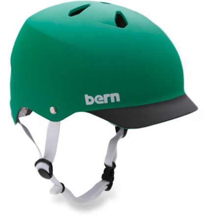 BMX The Bern Watts is a vented bike helmet with a built-in visor and a nod to skate style, offering protection and style for everyday use. Hard and tough molded ABS shell is backed with an expanded polystyrene (EPS) liner for excellent impact protection. Sink Fit helmet design offers a low-profile style and fit that's been ergonomically engineered for comfort. Designed for all season use, with a winter knit liner and goggle clip that can be snapped in for cold weather or for snow sports (kit not included). Bern Watts helmet meets ASTM F 2040 and EN 1077B standards for snow and ski, CPSC and EN 1078 standards for bike and skate. - $65.00