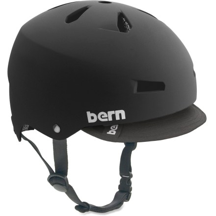 BMX The Bern Macon EPS bike helmet supplies good ventilation and versatile performance all in a fun, skate-inspired style for everyday use. Hard and tough molded ABS shell is backed with an expanded polystyrene (EPS) liner for excellent impact protection. Removable visor offers protection from sun and inclement weather, and a touch of style. Sink Fit helmet design offers a low-profile style and fit that's been ergonomically engineered for comfort. Designed for all season use, with a winter knit liner and goggle clip that can be snapped in for cold weather or for snow sports (kit not included). Bern Macon helmet meets ASTM F 2040 and EN 1077B standards for snow and ski, CPSC and EN 1078 standards for bike and skate. - $60.00