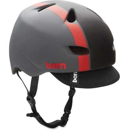 BMX The Bern Brentwood bike helmet melds style, comfort, protection and versatility together into an excellent, all-around helmet for your riding pleasure. Lightweight and tough PVC shell is backed by a seamless ZipMold(TM) liquid-injected foam interior, providing a high strength-to-weight ratio. Low-profile shape is ergonomically tuned to provide a deep, surrounding fit and feel around your whole head. Removable visor offers protection from sun and inclement weather. Channeling vents move air over your head to keep you comfortable; as a bonus, channels have been created for your sunglasses, optimizing fit and use with your shades. Easily adapt your helmet to the season with the Bern interchangeable cold- and warm-weather liners and accessories, not included. Bern Brentwood helmet meets ASTM F 2040, CPSC and EN 1078 standards for bike and skate use. - $84.95