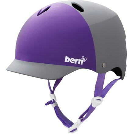 BMX This Bern Lenox women's bike helmet not only offers excellent protection, it's stylish and versatile for year-round use. Hard, tough and lightweight molded ABS shell is backed with an expanded polystyrene (EPS) liner for excellent impact protection. Low-profile shape is ergonomically tuned to provide a deep, surrounding fit and feel around your whole head. Built-in brim provides both sun and rain protection as well as a bit of fun style. Adjustable straps let you quickly and easily fine-tune the fit for comfort. Channeling vents move air over your head to keep you comfortable. Easily adapt your helmet to the season with the Bern interchangeable cold- and warm-weather liners and accessories, not included. Bern Lenox helmet meets ASTM F 2040 and EN 1077B standards for snow and ski, CPSC and EN 1078 standards for bike and skate. - $47.93