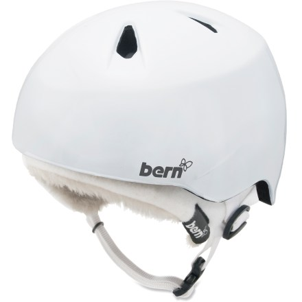 Ski The girls' Bern Nina snow helmet is a great choice for protection on the slopes this winter. Lightweight PVC shell with seamless ZipMold(TM) liquid foam technology provides a high strength-to-weight ratio. 7 vents keep head cool. Bern Nina helmet meets ASTM F 2040 standard for snow and ski, and CPSC and EN 1078 for bike and skate. Patent-pending, snap-in clip system allows winter liner to removed as the temperature rises. Overstock. - $44.73