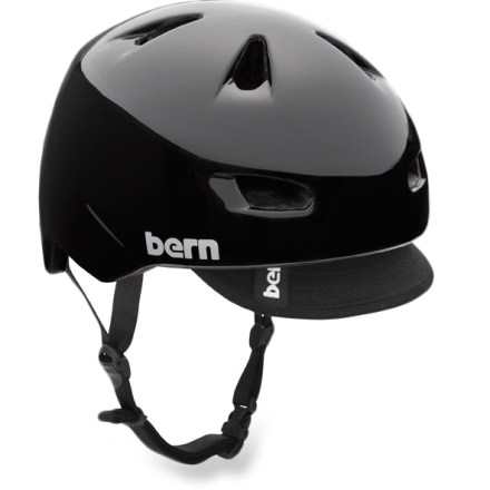 MTB The Bern Brentwood multisport helmet is built to take-on a variety of activities. Lightweight PVC shell with seamless ZipMold(TM) liquid foam technology provides a high strength-to-weight ratio. Sink Fit helmet design offers a low-profile fit; it doesn't look like a spaceship landed on your head! Air channels pull air through front vents and allow air to exit through back vents. Built-in visor keeps the sun out of your eyes. Bern Brentwood helmet meets ASTM F 2040 standard for snow and ski use, and CPSC and EN 1078 for bike and skate use. Patent-pending, snap-in clip system allows cold- and warm-weather liner integration (liner not included). Special buy. - $25.83