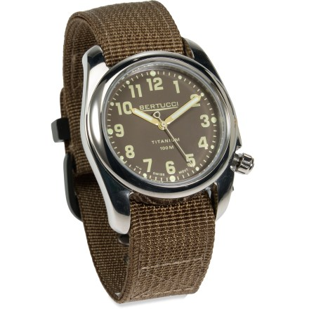 Entertainment Rugged yet refined, the M.H. Bertucci A-2T High Polish Titanium watch sports rich details and exacting craftsmanship for long-lasting style and performance. - $118.93