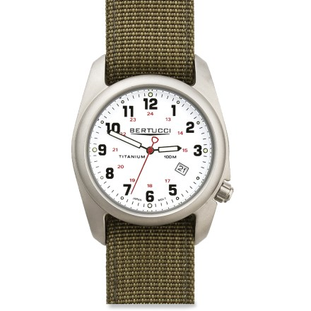 Entertainment This Bertucci A2-T Titanium analog watch is sleek enough to wear indoors, but rugged enough to take outdoors. - $100.00