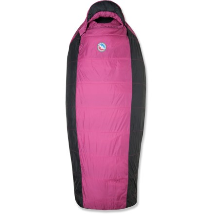 Camp and Hike Not stopped by misty weather, this Big Agnes Slavonia 30F women's sleeping bag is roomier than a traditional mummy bag and features quick-drying synthetic insulation for warmth in damp weather. - $41.83