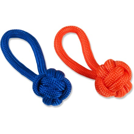Camp and Hike The Bison Designs Paracord Monkey Fist zipper pull adds the function of an extended cord to your zipper, along with the cool look of the classic monkey fist knot. Durable paracord stands up to years of heavy use. Comes in assorted colors only; sorry, specific color requests cannot be accommodated. Each zipper pull contains 13 inches of paracord. - $5.93