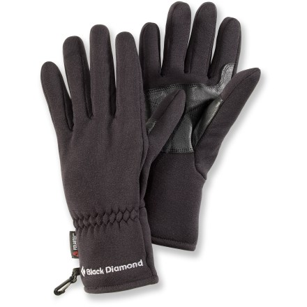 Camp and Hike These Black Diamond midweight gloves are lightweight, quick drying and wind resistant. Soft and stretchy, they optimize fit and comfort. - $20.93