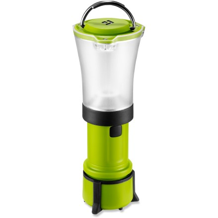 Camp and Hike Updated for 2010, the featherweight Black Diamond Orbit lantern brings bright light to your backcountry adventure without weighing you down. DoublePower LED with frosted globe creates bright, non-glaring light; dual reflectors effectively capture and distribute light. LED puts out 45 lumens on high and 10 lumens on low; illuminates an area approximately 13 ft. in diameter on high. Fine-tune your lighting needs with the dimming switch-simply hold down the on/off button to activate dimmer. Collapsible design saves space in your pack and protects on/off button from accidental activation. Unique double-hook hanging system on top provides a simple and secure thread-through or clip-in attachment point for string, fabric loops or branches. Rubber feet stabilize lantern when set on table or ground. Runs on 4 AAA batteries, sold separately; base of lantern unscrews to reveal battery compartment. Also compatible with the Black Diamond NRG2 rechargeable battery kit, sold separately. - $21.93