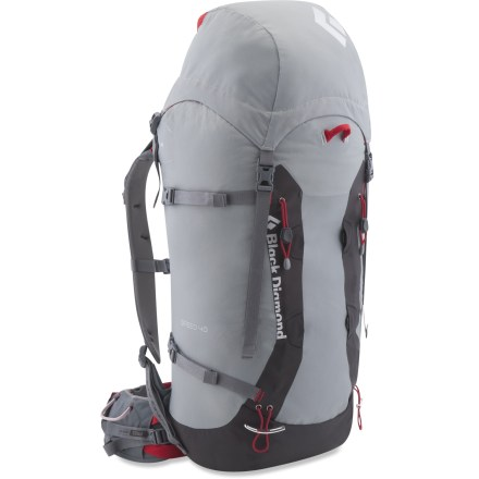 Climbing The Black Diamond Speed 40 pack offers strippable, lightweight performance that excels during fast alpine forays. reActive(TM) suspension is optimized to carry light loads over long distances. Thermoformed back panel is vented for enhanced air circulation. SwingArm(TM) shoulder straps move in concert with a hiker's stride or a climber's reach by sliding through the bottom of the pack with a low-friction cable and housing. Shoulder straps are linked to the other by the cable which helps maintain an even, balanced load across the shoulders. Removable, padded hipbelt has a floating, pass-through design that flexes smoothly and allows comfortable mobility in all directions. 4mm aluminum frame and framesheet offer stripped-down performance. Removable top pocket lets you pare down weight when you're heading for the top; main compartment features a roll-top closure and internal skirt. Internal pocket holds hydration reservoir (sold separately) and provides hands-free drinking on the trail. Side compression straps secure and stabilize both large and small loads. The Black Diamond Speed 40 pack features IceLink(TM) tool loops, a 3-point haul system and welded crampon patch. - $119.93