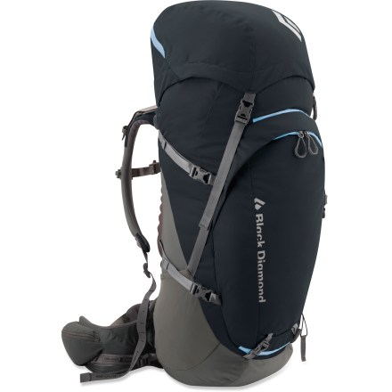 Camp and Hike The Black Diamond Onyx 55 pack for women sports an active suspension and harness system that offer excellent load support and a wide range of free mobility for the wearer. Narrow back and shoulder profile, canted hipbelt and short frame are designed to comfortably fit a woman's body. Patent-pending ergoACTIV hipbelt, breathable back panel and soft, 3D mesh lining on hipbelt and shoulder straps provide topnotch support and comfort. SwingArm(TM) shoulder straps move in concert with a hiker's stride or a climber's reach by sliding through the bottom of the pack with a low-friction cable and housing. Shoulder straps are linked to the other by the cable which helps maintain an even, balanced load across the shoulders. An ideal blend of volume, comfort and mobility lets you bring everything you need without slowing you down or limiting your range of motion. Top-loading pack body features a floating lid to accommodate large or small loads; giant U-shape front-panel zipper offers easy access. Hydration compatibility lets you add a reservoir of your choice (reservoir sold separately). Hipbelt stash pocket, side stretch pockets and zippered front pocket offer plenty of storage for water bottles, snacks and other essentials. The Black Diamond Onyx 55 pack features retractable tool loops that allow ice axes or trekking poles to be lashed to the outside of the pack. - $179.93