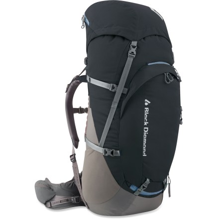 Camp and Hike The women's Black Diamond Onyx 65 features an active suspension and harness system that offers excellent load support and a wide range of mobility for the wearer during long days on the trail. Narrow back and shoulder profile, canted hipbelt and short frame are designed to comfortably fit a woman's body. Patent-pending ergoACTIV XP hipbelt, breathable back panel and soft, 3D mesh lining on hipbelt and shoulder straps provide top-notch support and comfort. SwingArm(TM) shoulder straps move in concert with a hiker's stride or a climber's reach by sliding through the bottom of the pack with a low-friction cable and housing. Shoulder straps are linked to the other by the cable which helps maintain an even, balanced load across the shoulders. An ideal blend of volume, comfort and mobility lets you bring everything you need without slowing you down or limiting your range of motion. Top-loading pack body features a floating lid to accommodate large or small loads; giant U-shape front-panel zipper offers easy access to main compartment. Hydration compatibility lets you add a reservoir of your choice (reservoir sold separately). Hipbelt stash pocket, side stretch pockets and zippered front pocket offer plenty of storage for water bottles, snacks and other essentials. Waterproof taping on the top and bottom seams help keep contents dry. The Black Diamond Onyx 65 pack features retractable tool loops that allow ice axes or trekking poles to be lashed to the outside of the pack. - $145.93