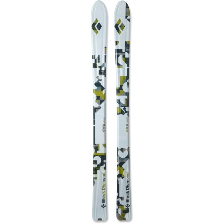 Ski A fast-and-light powder seeker, the Black Diamond Drift ski has a soft-flexing, early-rise tip for excellent flotation and smooth turns on backcountry tours. Part of the FreeTour series, the Drift blends alpine-inspired performance with backcountry efficiency for use in both the sidecountry and backcountry. Semi-rockered tips and tails rise up in deep snow to make trail breaking and turning easier. 100mm waists and camber underfoot provide a good blend of soft-snow and hard-snow performance. 3 ribs with carbon fiber reinforcements run the length of the ski to deliver liveliness and power for hard-charging skiing. Lightweight paulownia wood cores surrounded by Torsion Box construction provide torsional power and energy pop. Torsion Box technology wraps fiberglass around the core like a burrito. Stainless-steel notches at the tails keep climbing skins (sold separately) securely attached and centered. Base or topsheet color may vary from online photo. High-speed sintered bases on the Black Diamond Drift skis feature a cross-hatch stone grind for the best balance of durability, glide and maintenance. - $679.00