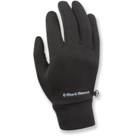 Camp and Hike Wear the Black Diamond LightWeight gloves next to skin for comfort during highly aerobic activities. Stretchy fleece fabric dries quickly and provides just the right amount of warmth. Black Diamond LightWeight gloves work well as liners under heavier gloves. - $19.95