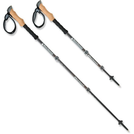 Camp and Hike The Black Diamond Alpine Carbon Cork trekking poles add support, stability and effortless swing to your wilderness forays, with 3 vibration-absorbing carbon fiber sections and natural cork grips. - $95.93