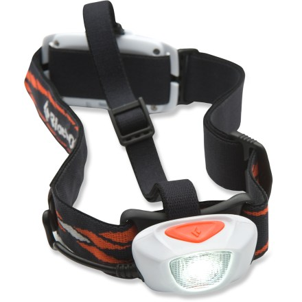 Camp and Hike The running-specific Black Diamond Sprinter headlamp keeps your path lit so you can continue your training after dark. Designed specifically for running, the low-profile Sprinter weighs in at only 3.5 oz. and has excellent fore and aft balance so it doesn't bounce up and down while you run. LED has a maximum output of up to 68 lumens and throws a strong oval-shape beam up to 50m; beam is optimized for running to illuminate the ground around your feet. Hold down the on/off button to activate the dimmer and fine-tune your lighting needs; press the on/off button twice to activate the front strobe. Rear red safety strobe helps keep you visible to cars, bikers and other runners; rear light can be turned on and off. Headlamp is powered by a lithium polymer rechargeable battery that provides up to 64 hrs. of use on low and 5 hrs. on high; battery fully recharges in about 6 hrs. Removable top strap provides increased stabilization. Sealed construction provides IPX7 water resistance (submersible to 1m). Includes a wall charging kit, a charging dock and foreign outlet adapters for use in other countries. Closeout. - $46.83
