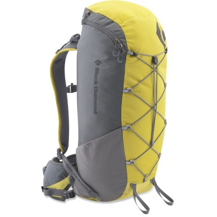 Camp and Hike The Black Diamond Burn pack offers light-and-fast alpine ascenders strippable, lightweight performance for vertical adventures. reActive(TM) suspension is optimized to carry light loads over long distances. SwingArm(TM) shoulder straps move in concert with a hiker's stride or a climber's reach by sliding through the bottom of the pack with a low-friction cable and housing. Shoulder straps are linked to the other by the cable which helps maintain an even, balanced load across the shoulders. Thermoformed back panel is vented for enhanced air circulation. 4mm aluminum frame offers stripped-down performance. Zippered top offers access to large main compartment. Bungee cord on front helps compress pack contents, and it's an ideal place to stash a jacket. Side stretch pockets hold water bottles secure. The Black Diamond Burn pack features IceLink(TM) tool loops and a hipbelt stash pocket. Closeout. - $61.73