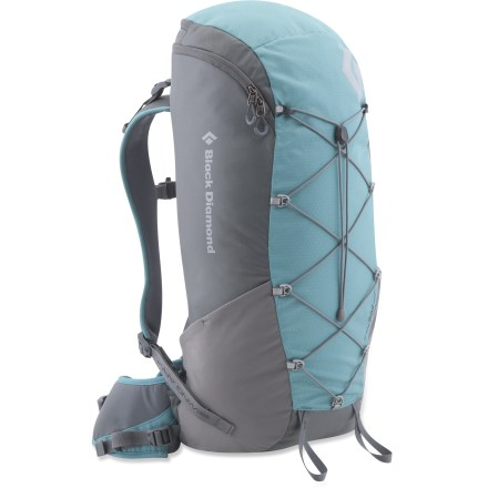 Camp and Hike The Black Diamond Blast pack offers women a comfortable and light pack for alpine ascents. reActive(TM) suspension is optimized to carry light loads over long distances. SwingArm(TM) shoulder straps move in concert with a hiker's stride or a climber's reach by sliding through the bottom of the pack with a low-friction cable and housing. Shoulder straps are linked to the other by the cable which helps maintain an even, balanced load across the shoulders. Thermoformed back panel is vented for enhanced air circulation. 4mm aluminum frame offers stripped-down performance. Zippered top offers access to large main compartment. Bungee cord on front helps compress pack contents, and it's an ideal place to stash a jacket. Side stretch pockets hold water bottles secure. The Black Diamond Blast pack features IceLink(TM) tool loops and a hipbelt stash pocket. Closeout. - $45.73