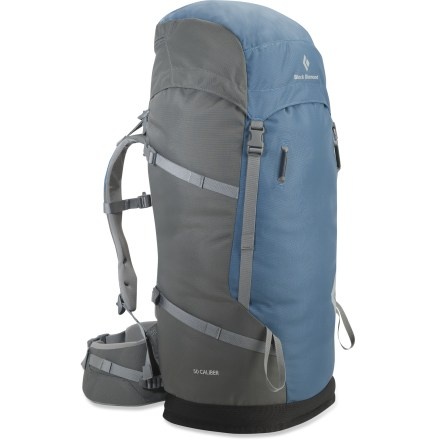 Camp and Hike The Black Diamond Caliber 50 pack is a durable cragger that offers great range of motion and freedom of movement. Lightweight, 5mm V-Flex suspension offers great mobility, support and stability for scrambling and climbing; aluminum stay supplies support. Fixed shoulder straps and vented, thermoformed back panel offer breathable comfort. Removable, padded hipbelt disperses load weight comfortably around your hips. Top-loading main compartment features a removable floating top lid and a tuck-away rope strap. Hydration-compatible design features a reservoir sleeve and drink tube exit port (reservoir not included). Gear attachment points on the front; side compression straps take up extra volume and stabilize your load. Black Diamond Caliber 50 pack is made of tough ballistic nylon. Closeout. - $119.73