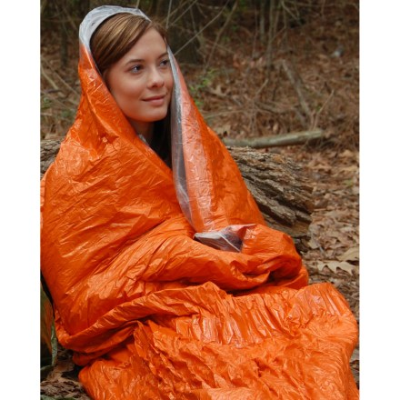 Camp and Hike Carry the reusable Blizzard Survival sleeping bag on your adventures or keep one stashed in your car, just in case the unexpected happens. Waterproof, windproof Reflexcell(TM) material reflects 90% of radiated body heat to help keep you warm; provides twice the insulation of most other emergency blankets. Warmth provided by the blanket is approximately equal to that of a medium-weight sleeping bag. Interwoven elastic draws the Reflexcell material close to the body to reduce cold spaces and provide a great feeling of warmth and security. Top of the sleeping bag can be closed to form a hood. Bag can be reused many times without any loss of performance. The Blizzard Survival sleeping bag fits 1 fully-clothed adult; measures 94.5 x 46 in. when unpacked. Measures 8.2 x 4.3 x 1.5 in. when packed for easy storage in a backpack or vehicle. - $39.95